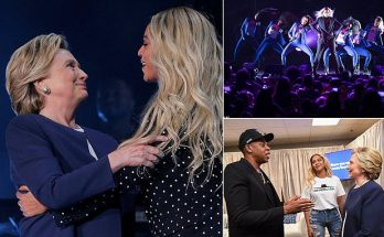 MR. PRESIDENT : Jay-Z and Beyoncé Welcome Hillary Clinton On-Stage