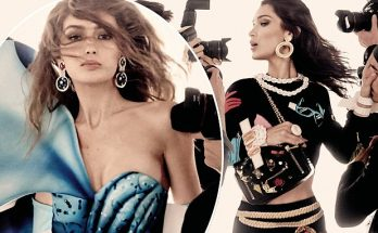 Gigi and Bella Hadid Front MOSCHINO & FENDI Spring 2017 Campaigns