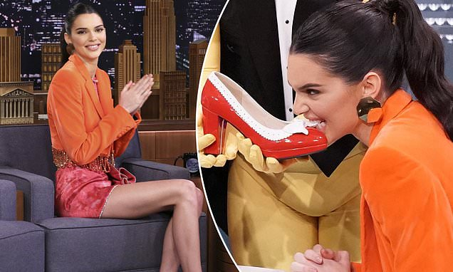 Kendall Jenner Eats a Red Stiletto Shoe