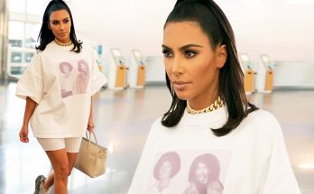 Kim Kardashian Wears a MICHAEL JACKSON x PRINCE T-Shirt While Walking Through the Airport