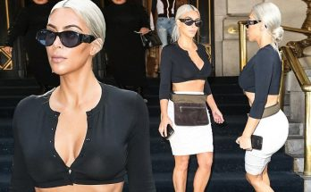 KIM KARDASHIAN Reveals Belly in Crop-Top in NYC