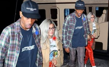 Kylie Jenner in GRAY HAIR Holds Tight Onto Travis Scott While Leaving NYC Show