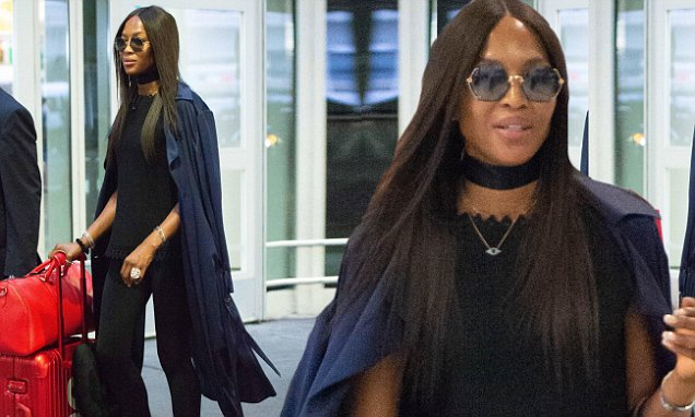 Naomi Campbell Strolls Through NYC Airport With SUPREME Luggage!