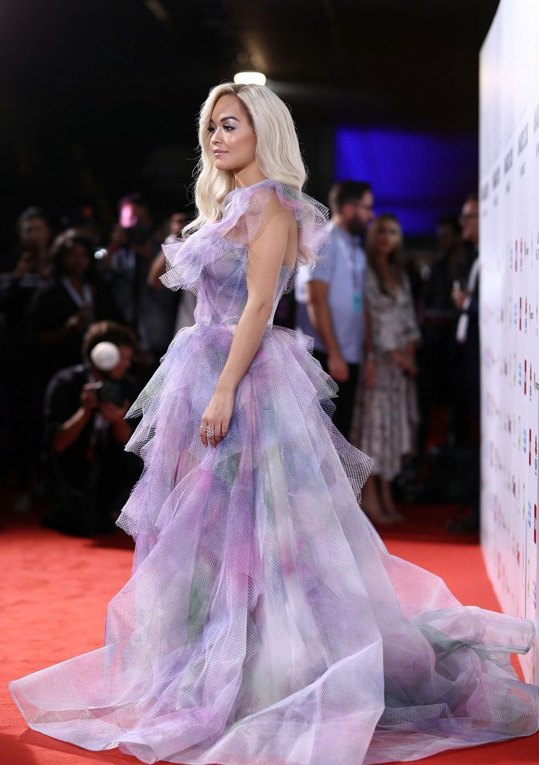 Rita Ora Walks ARIA Awards Red Carpet in One-Shoulder Fluffy Purple Dress