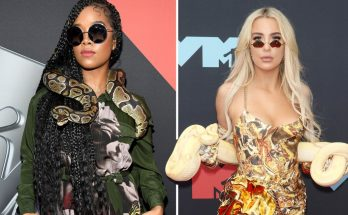 REPTILIAN STYLE: H.E.R. and Tana Mongeau Wear SNAKES to the VMAs